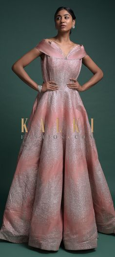 Buy Online from the link below. We ship worldwide (Free Shipping over US$100)  Click Anywhere to Tag Youthful Peach Gown In Raw Silk With Fancy Off Shoulder Neckline And Shimmer All Over Online - Kalki Fashion Youthful peach gown in raw silk with shimmer all over in striped pattern.Designed with fancy off shoulder neckline.This piece comes with cancan.
