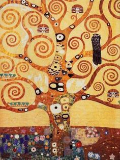 The Tree of Life by Gustav Klimt.  there go those scrolly branches again.  It's all coming together!