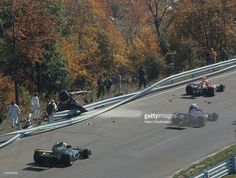 Overall view of guardrail collision that killed Francois Cevert (6) during Saturday morning trials session at Watkins Glen Grand Prix Race Course. Cevert was died after a fatal crash on the uphill Esses. Heinz Kluetmeier F35 )