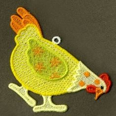 FSL Folk Hen 5 - 4x4 | FSL - Freestanding Lace | Machine Embroidery Designs | SWAKembroidery.com Ace Points Embroidery