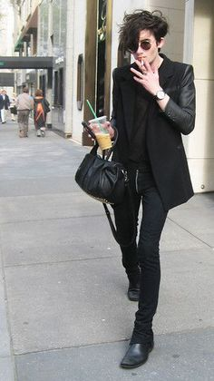all black blazer, shirt, jeans, shoes