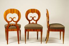 Love these Biedermeier chairs. Fun, high polished and curvy!