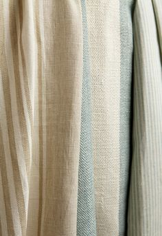 summerville linen stripe in dune   wesley ticking stripe in aqua  both from @Schumacher — Fabric Wallcovering Trimming Furnishing
