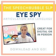 Engaging kids doesn't mean you need fancy digital tools! EYE SPY Articulation and Language is a LOW PREP resource that gives you the flexibility the engage your kids, whether you're in-person or virtual, while targeting their speech and language goals.
