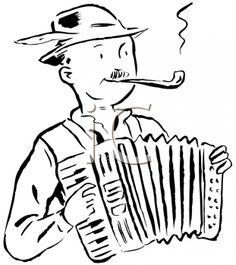 Oktoberfest Clipart - Retro Man Playing the Accordion