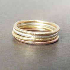 Skinny Mini 14k Gold pinky rings by LilianGinebra, $135.00