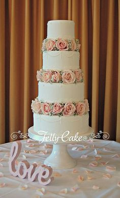 Fresh Flowers Wedding Cake | Flickr - Photo Sharing! Avalanche Roses and Gypsophila Wedding Cake www.jellycake.co.uk