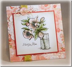I stamped my image on Flourishes Classic White card stock and colored it with Copics. I shaded around the image with Prismacolor pencils and oms. I also sponged around the edges of the panel with a VersaMagic Dew Drop in Wheat. I used a Quickie Glue Pen and some prism glitter to the flower centers and I coated the glass vase with Crystal Effects.    The patterned paper is from the Basic Grey Porcelain 6x6 pad. I added a doily with some faux suede ruffle ribbon and a button with some…