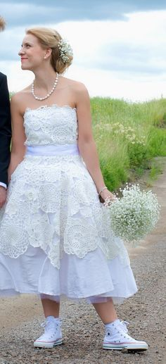 virkattu hääpuku - crochet weddingdress