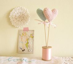 Pink and Blue Crochet Hearts Cup Cake Toppers
