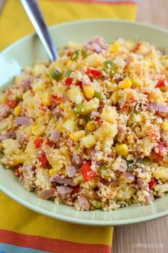 Slimming Eats Hawaiian Style Couscous - dairy free, Slimming World and Weight Watchers friendly // Food Recipe Ideas Slimming World Cous Cous, Slimming World Salads, Slimming World Lunch Ideas, Slimming World Recipes Syn Free, Slimming Eats, Slimming World Pizza, Lunch Recipes, Cooking Recipes, Healthy Recipes