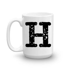 Initial Mug Letter H 15oz Ceramic Cup Office Cups Initials