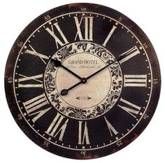 """24"""" Round French Country Black and White Distressed Paris Vintage Hotel Wall Clock   French Country Tuscan Decor"""
