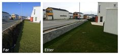 Før og etter graving, støping og muring av #mur langs veien.