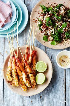 Chilli and garlic prawn skewers with quinoa and cauliflower pilaf http://www.lornajane.com.au/COOK2014/Nourish-Cook-Book-2014