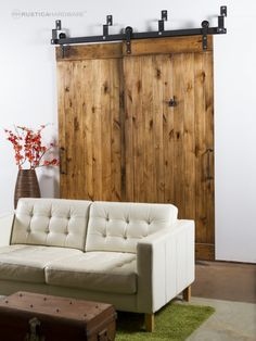 for the laundry room: Standard Bypass Barn Door Hardware System - http://RusticaHardware.com/