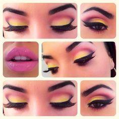 Pink, yellow eyeshadow make-up I Love Makeup, Pretty Makeup, Makeup Inspo, Makeup Inspiration, Makeup Tips, Beauty Makeup, Elegant Makeup, Makeup Hacks, Makeup Style