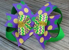 Mardi Gras Hair Bow by MiaBellaCrafting on Etsy