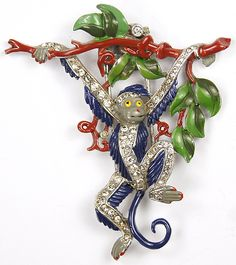 Trifari 'Alfred Philippe' Pave and Enamel Monkey Swinging from a Branch Pin Clip, 1939. This one looks as if it has been retouched on the paint, but the ability to see these wonderful designs is great.