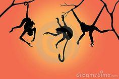 Monkey silhouettes on a sunrise background