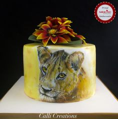African Lion Painting Sketch Birthday Cake by Calli Creations