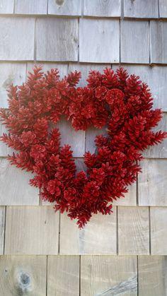 Valentines Wreath Love Wreath Red Heart Pinecone Wreath Ideas Of Diy Pinecone Wreath Diy Valentines Day Wreath, Valentines Day Decorations, Valentine Day Crafts, Holiday Crafts, Printable Valentine, Homemade Valentines, Valentine Box, Valentine Ideas, Pine Cone Art
