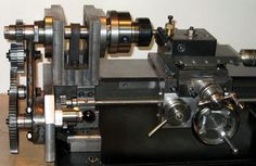 """The """"Elffers"""" Home-built Lathe - the change gears mounted and the drive to the leadscrew connected"""