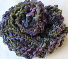 Hand Knit Infinity Cowl Scarf Super Bulky Purple Blue by bpenatzer, $63.00