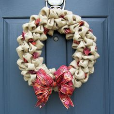 love this burlap holiday wreath...for Christmas or anytime of the year