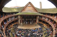 The interior of Shakespeare's Globe Theater.  This is the first thatched roof building permitted in London since the Great Fire of London in 1666. The only covered parts of the amphitheatre are the stage and seated areas. Plays are staged during the summer. Performances are staged in a manner which is as close as possible to the original environment. There are no spotlights - the plays are staged during daylight hours. There are no microphones or speakers and the actors must use their natural...