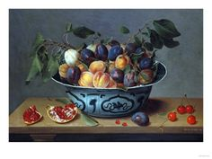 Peaches and Plums in a Blue and White Chinese Bowl, with Other Fruit on a Table Giclee Print by Joseph Bail at Art.com