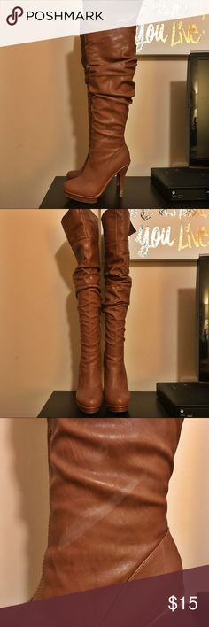 """Charlotte Russe Over The Knee Boots! Charlotte Russe over the knee boots! Size 7 and cognac in color. Worn a few times! I have included any wear/damages in the photos. Can be worn folded over. **Boot shapers are NOT included**   My measurements: 5'1"""" and they hit mid-thigh, unless folded over.  Heel inch estimate: 4 to 4 1/2 inch with the platform. Charlotte Russe Shoes Over the Knee Boots"""