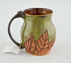 Handmade Pottery Mug w Saying - Green w Leaves | Gifted Pottery