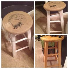Dry brush painted stool, covered with burlap, printed image using TAP.  Added glass table top to use as bedside table.