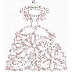 Victorian Wardrobe Redwork   Machine Embroidery Designs