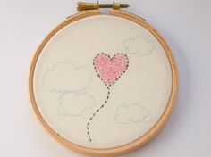 Heart Balloon cute embroidery by Hextrovert on Etsy, Cute Embroidery, Embroidery Ideas, Wooden Hoop, Heart Balloons, Pink Candy, Affordable Art, Textile Art, Nursery Decor, My Etsy Shop