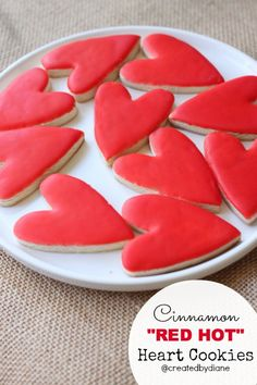 "Cinnamon ""RED HOT"" Heart Cookies & Glaze Icing  l  Created By Diane"