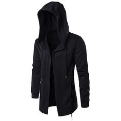 Plus Size Black Fashion Casual Mid Long Cloakman Cloak Hooded Jacket (€23) ❤ liked on Polyvore featuring men's fashion, men's clothing, men's outerwear, men's jackets, black, mens short sleeve jacket, mens fur lined hooded jacket, mens cotton jacket, mens hooded jackets and mens zipper jacket