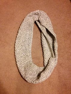 Gray and White Chunky Infinity Scarf