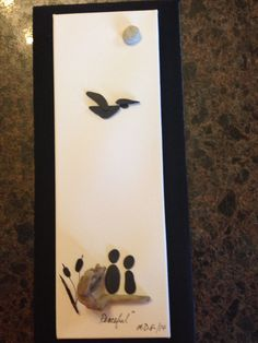 "Pebble Art by Denise "" Peaceful"". Unframed for photo."