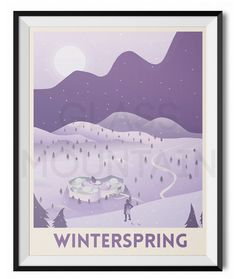 World of Warcraft travel posters. Azeroth posters. Winterspring retro print. Wall art by TheGlassMountain