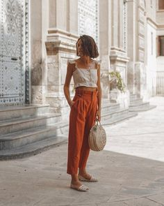 Cute vacation outfit with an Italian touch and Zara linen trousers. Summer Fashion Outfits, Boho Outfits, Spring Summer Fashion, Style Summer, Boho Spring Outfits, Bohemian Dresses, Beach Outfits, Summer Chic, Simple Outfits