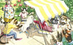 Vintage Alfred Mainzer humorous cat postcard hammock digital download printable…