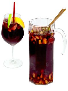 1 bottle of red wine1 cup of rum3 peaches, sliced3 green apples, sliced3 lemons, sliced2 cinnamon sticks2 L. lemon-lime soda3 tbsp. sugarCombine all ingredients in a punch bowl or pitcher and stir gently.Source: Velvet Palate -Cosmopolitan.com