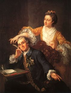 """William Hogarth (1697-1763), ""David Garrick and His Wife"" (1757)"" Notice the pearl bracelets, one on each arm!"