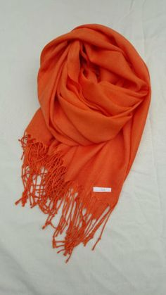 Turkish-cotton-cashmere-blend-pashmina-scarves - Tangerine