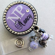 Nurse RN id Badge Reel personalized name silver by buttonit, $19.00