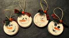 Rustic Snowmen Christmas tree ornaments made from recycled jar lids.