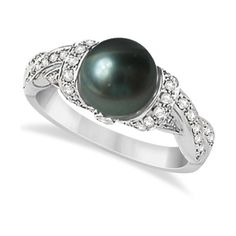 Allurez Freshwater Cultured Black Pearl & Diamond Ring 14K W. Gold... ($1,345) ❤ liked on Polyvore featuring jewelry, rings, twisted diamond ring, diamond band ring, 14k gold ring, gold ring and yellow gold diamond rings