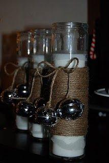 DIY - Jingle Bell + Twine Christmas Candles - Dollar Tree  <3